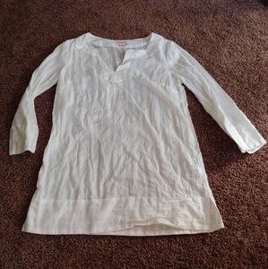 Merona gently worn semi sheer 3/4 sleeve white top